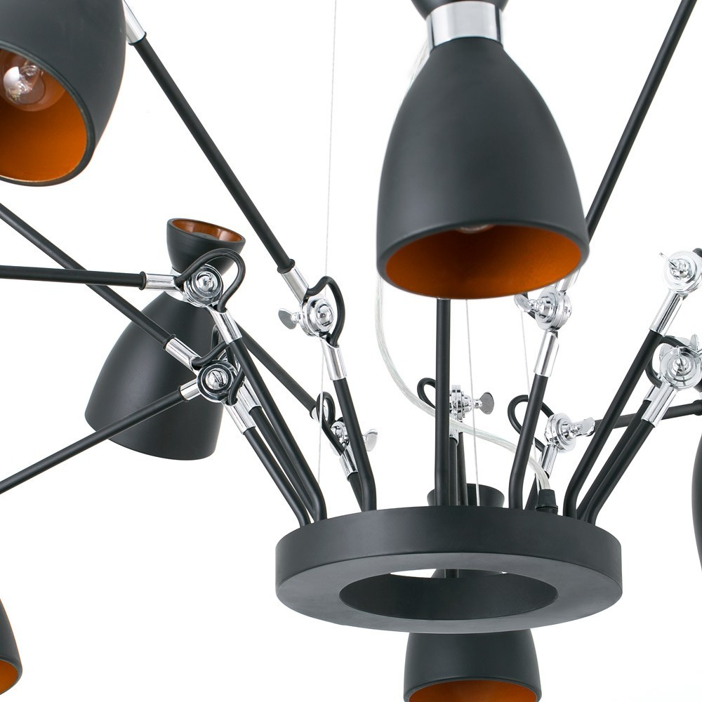 suspension r tro noir et or avec 12 lumi res orientables faro. Black Bedroom Furniture Sets. Home Design Ideas