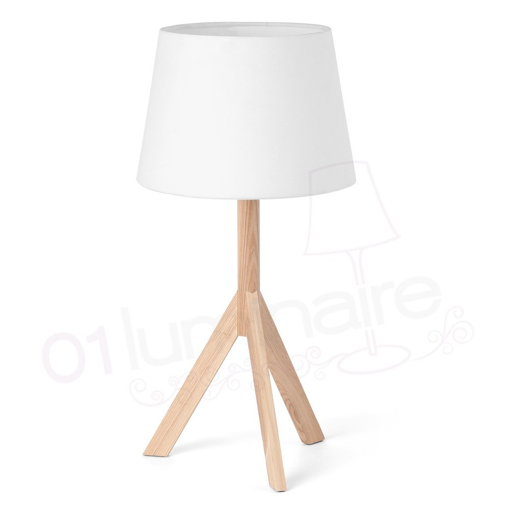 lampe poser hat en bois et abat jour blanc faro. Black Bedroom Furniture Sets. Home Design Ideas