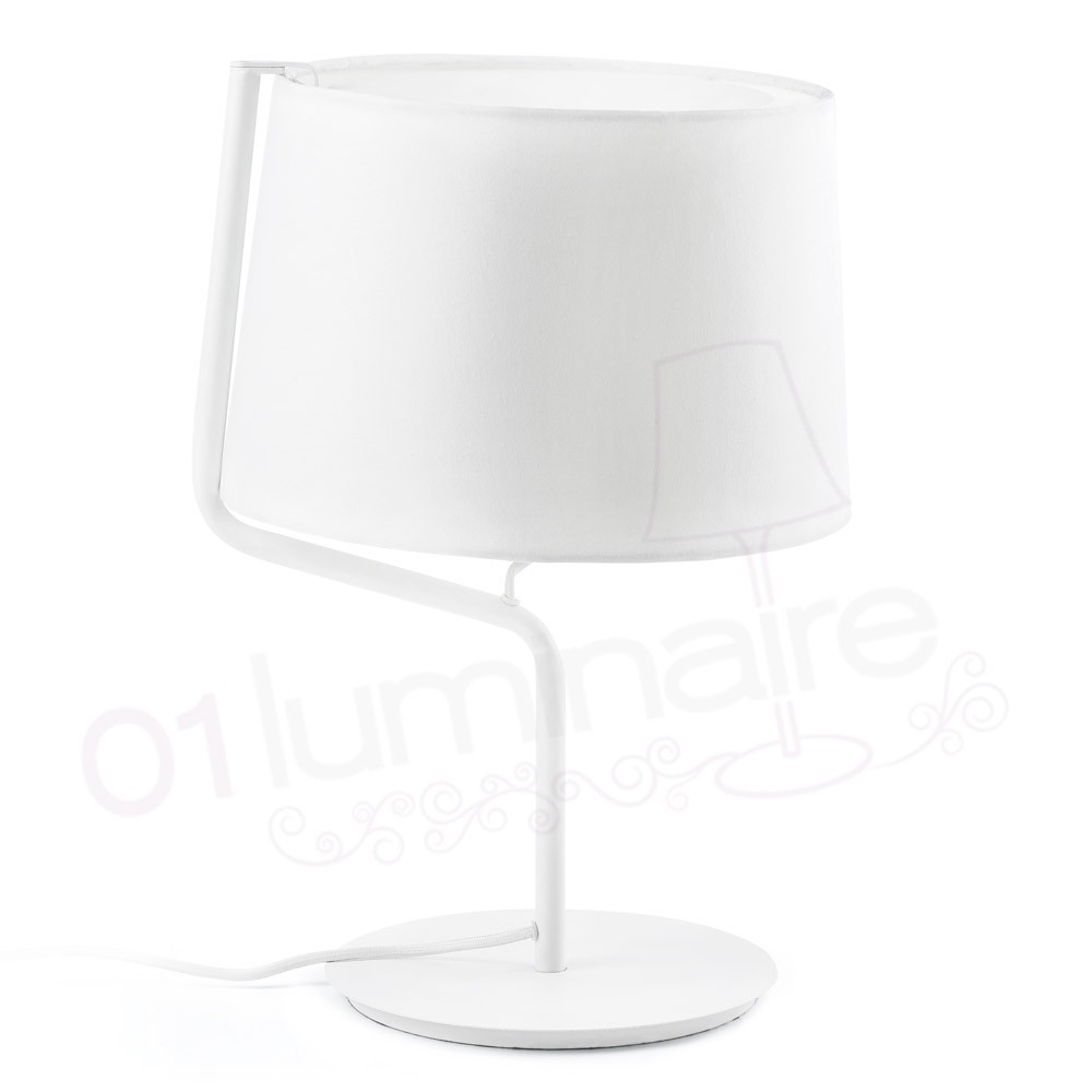 lampe poser berni blanche avec abat jour textile blanc faro. Black Bedroom Furniture Sets. Home Design Ideas