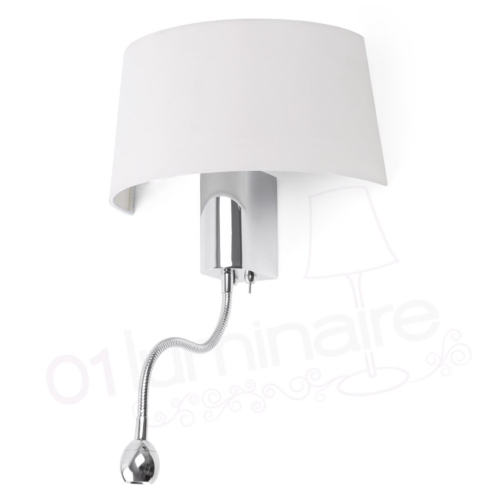 applique hotel chrome avec abat jour textile blanc et liseuse led faro. Black Bedroom Furniture Sets. Home Design Ideas
