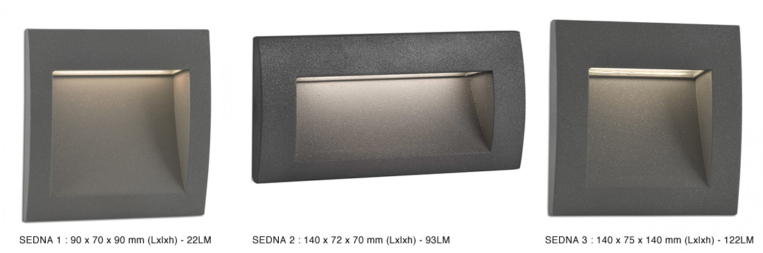 Encastrable mural d 39 ext rieur sedna led int gr e for Eclairage exterieur mur