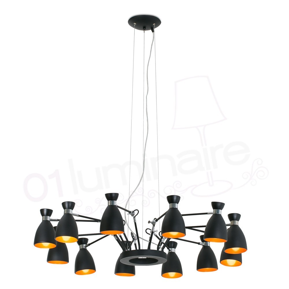 Suspension r tro noir or 12 lampes 20048 faro for Luminaire noir suspension