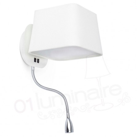 applique sweet blanche avec abat jour textile blanc et liseuse led faro. Black Bedroom Furniture Sets. Home Design Ideas