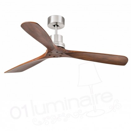 Ventilateur Lantau nickel mat bois noyer 33370 Faro