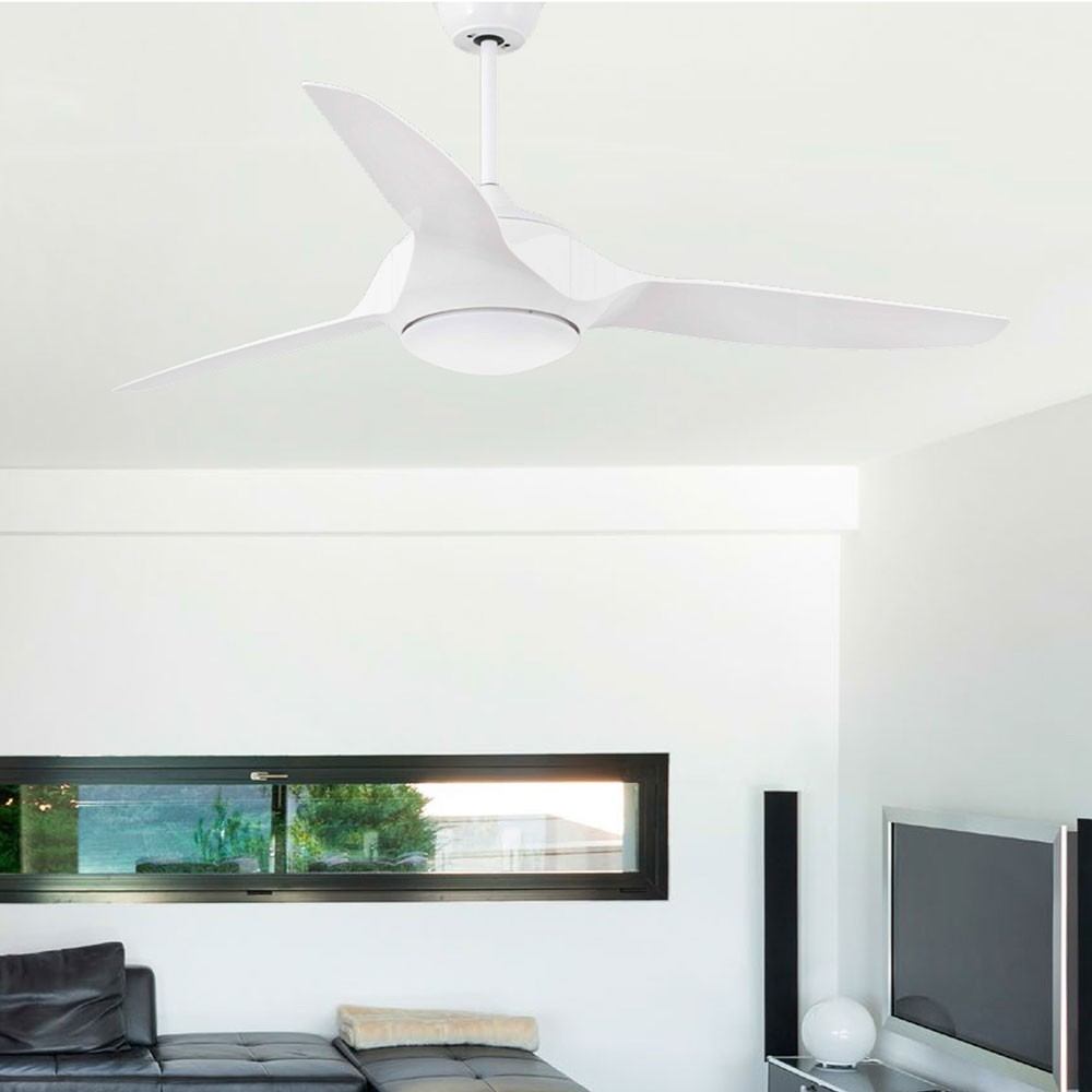 ventilateur plafond avec lumi re kailua blanc led 33408 faro. Black Bedroom Furniture Sets. Home Design Ideas