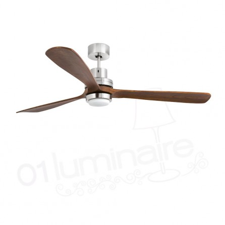 Ventilateur Lantau grand modèle nickel mat LED  33463 Faro