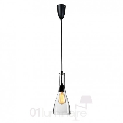 Suspension Miss C verre transparent noir 838P Market Set