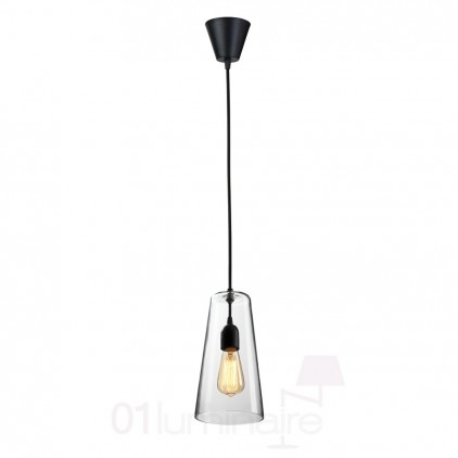 Suspension Miss D verre transparent noir 838P Market Set