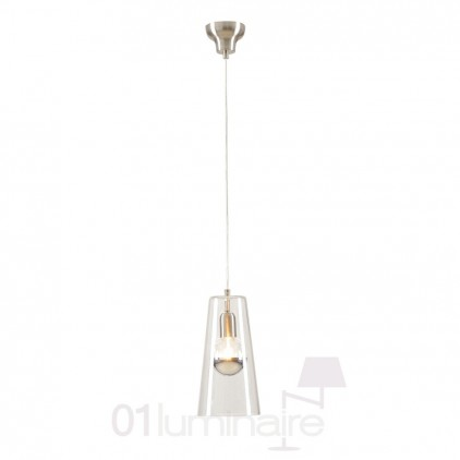 Suspension Miss D verre transparent nickel satiné 838P Market Set