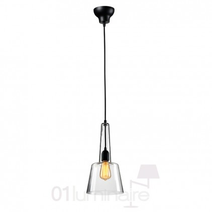 Suspension Miss E verre transparent noir 838P Market Set