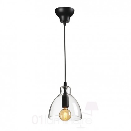 Suspension Miss G verre transparent noir 838P Market Set