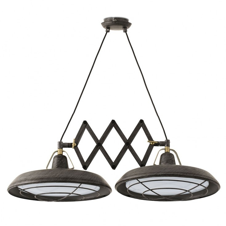 Suspension plec marron rouille r glable 2xled 2700k 1200lm for Specialiste luminaire exterieur