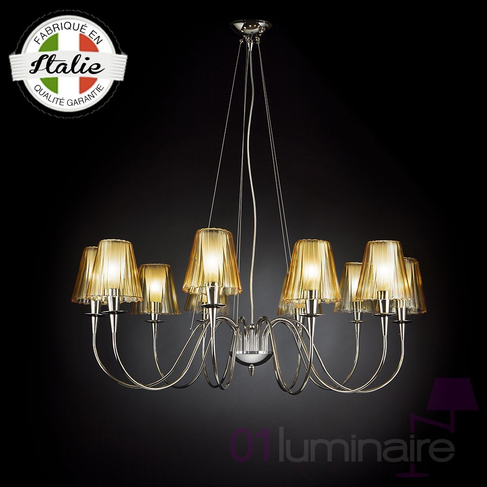 lustre opera 10 lumi res abat jour ambre metallux. Black Bedroom Furniture Sets. Home Design Ideas