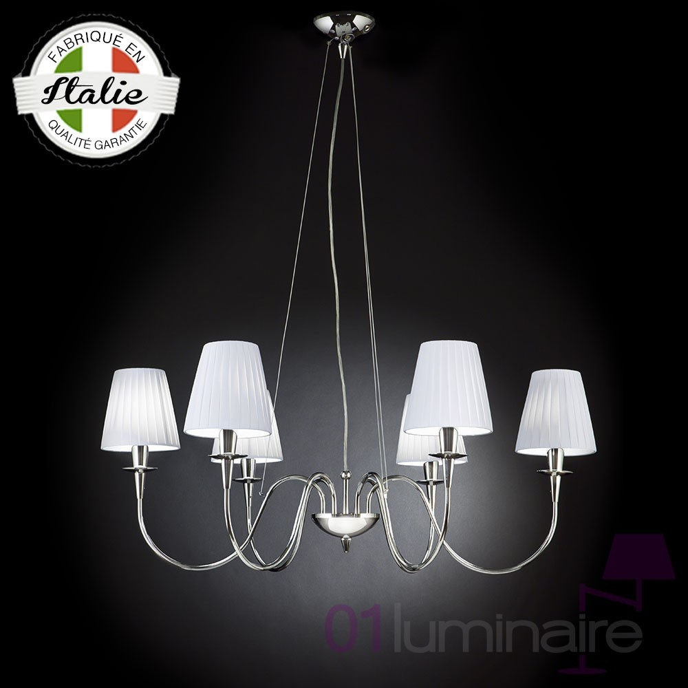 lustre opera 6 lumi res abat jour coton blanc 8 coloris disponibles metallux. Black Bedroom Furniture Sets. Home Design Ideas
