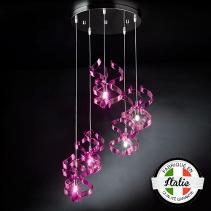 Suspension Astre 5 lumières rose 206-515-11 MetalLux