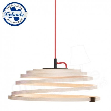 Suspension Aspiro 8000 Bouleau naturel câble rouge Secto Design