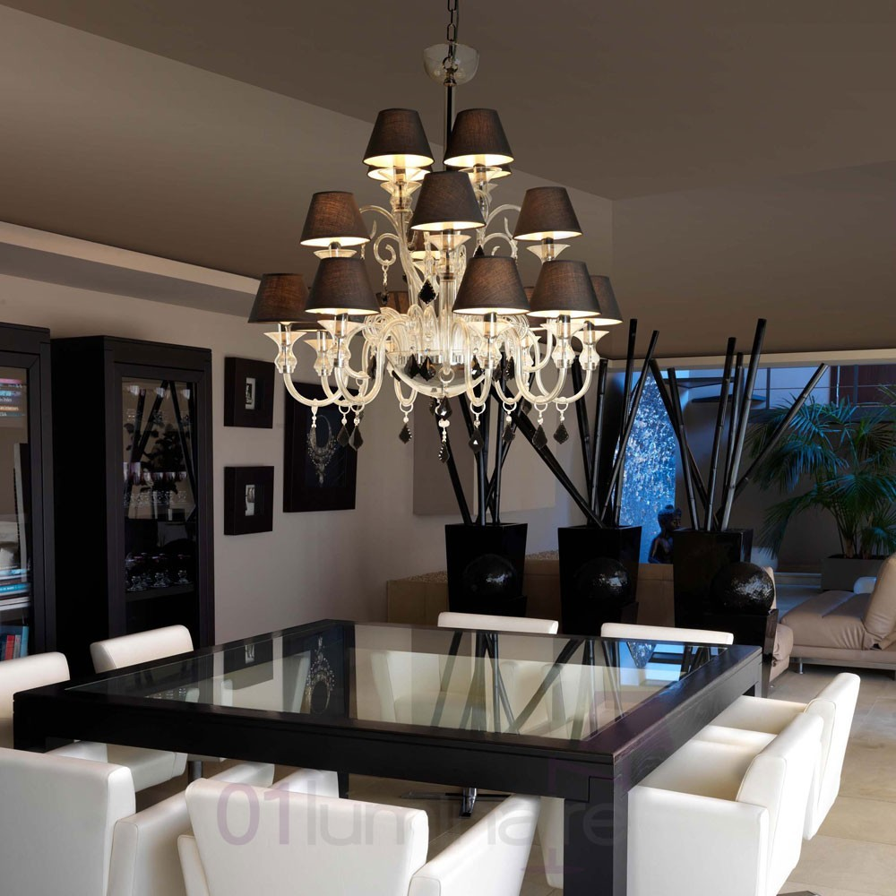 lustre murano 16 lumi res avec abat jour noir textile faro. Black Bedroom Furniture Sets. Home Design Ideas