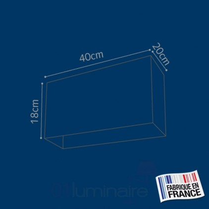 Abat-jour E27 Rectangle coton Bleu 40x18x20 E27 - Corep