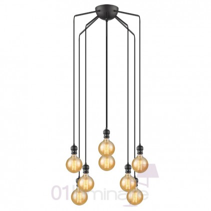Suspension Oros noir mat 8 lumières ampoule E27 592650 Market Set