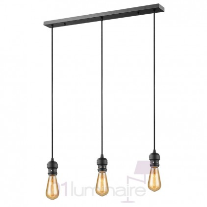 Suspension Oros noir mat barre 3 lumières ampoule LED E27 592659 Market Set