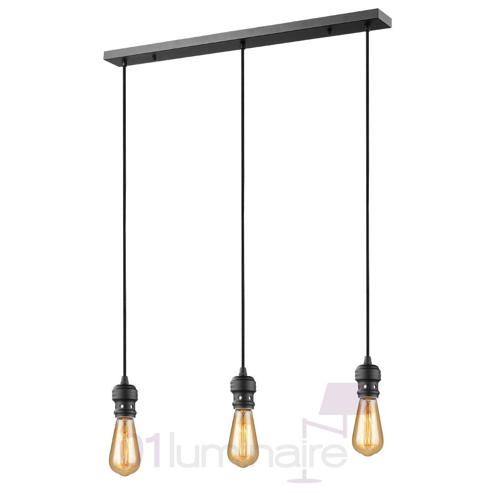 suspension oros noir mat barre 3 lumi res sans ampoule e27 market set. Black Bedroom Furniture Sets. Home Design Ideas