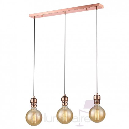 Suspension Oros cuivre barre 3 lumières ampoule LED E27 592652 Market Set
