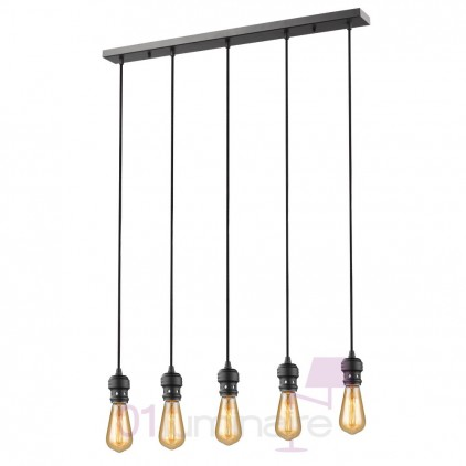 Suspension Oros noir mat barre 5lumières ampoule LED E27 592660 Market Set