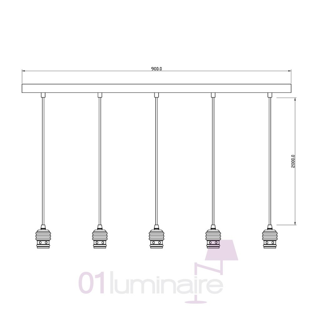 suspension oros cuivre barre 5 lumi res ampoule e27 592653 market set. Black Bedroom Furniture Sets. Home Design Ideas