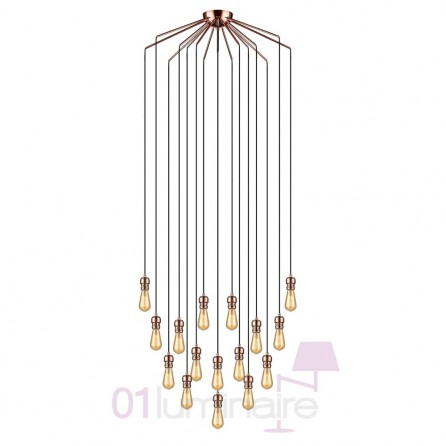 Suspension Oros Cuivre 16 lumières ampoule LED E27 592644 Market Set