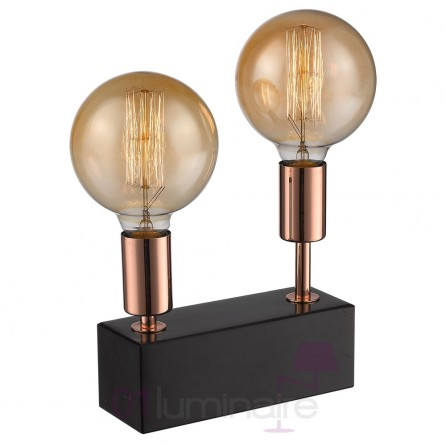 lampe mascara marbre noir variateur 2 ampoules led e27 592643 market set. Black Bedroom Furniture Sets. Home Design Ideas