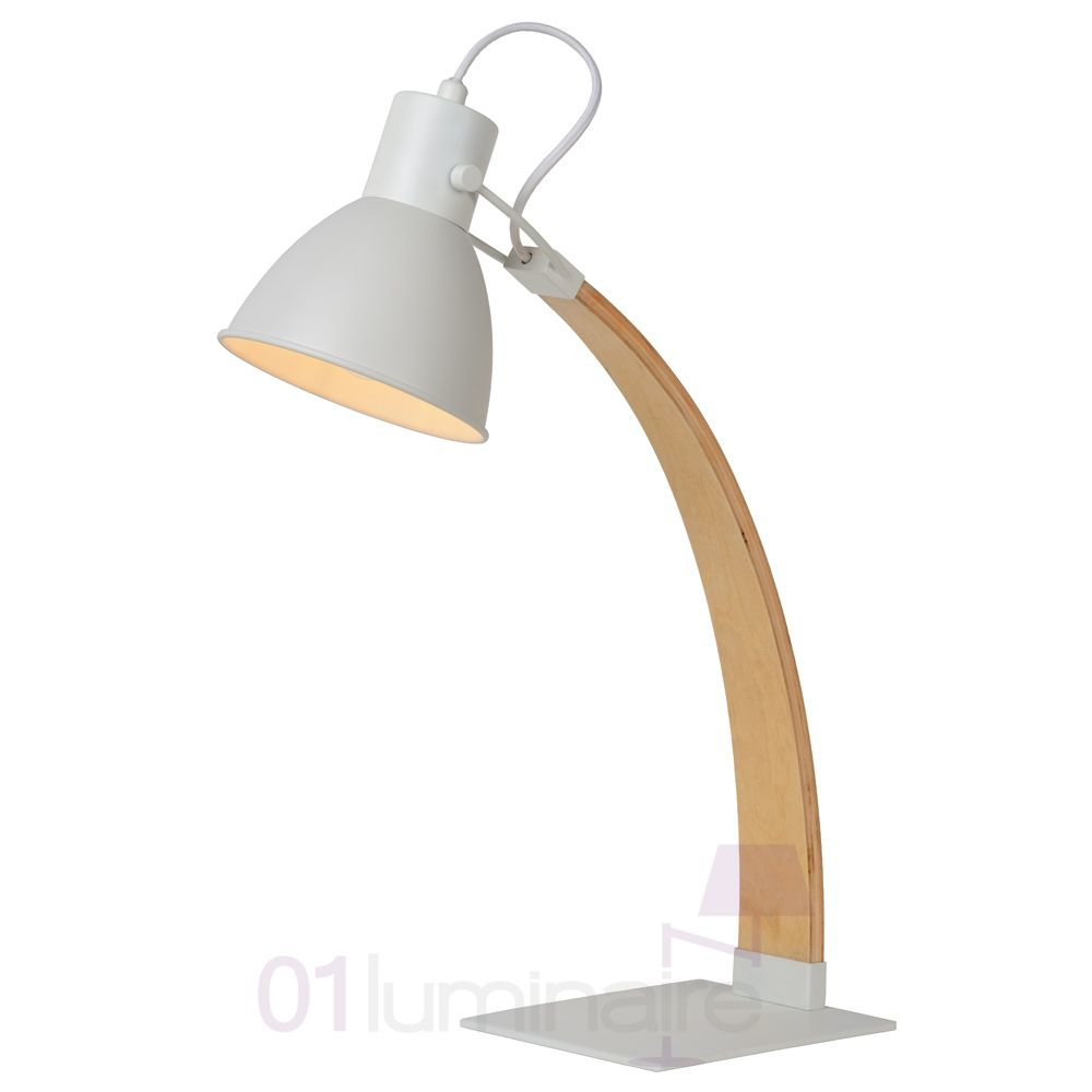 lampe de bureau curf bois blanc e27 e14 03613 01 31 lucide. Black Bedroom Furniture Sets. Home Design Ideas