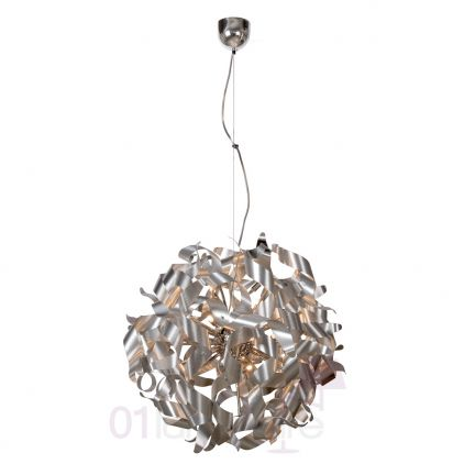 Suspension Atoma H150cm 12 lampes G9 Ø90cm chrome satiné - Lucide