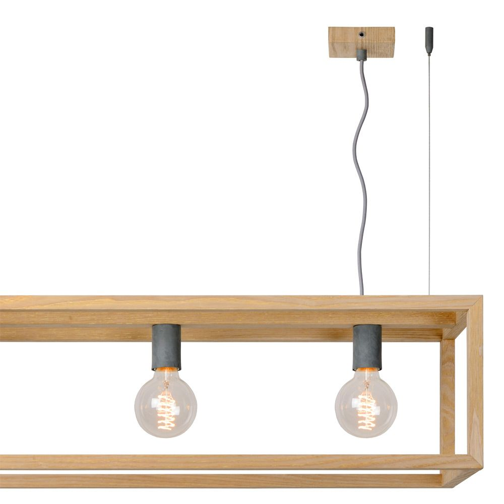Sion oris 4 lumi res e27 bois naturel 31472 04 72 lucide for Suspension bois luminaire