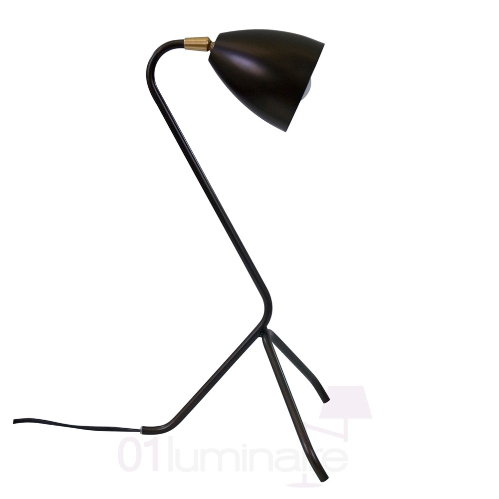 Lampe poser cleo epoxy bronze noir e27 25w lp l130131 for Lampe halogene a poser