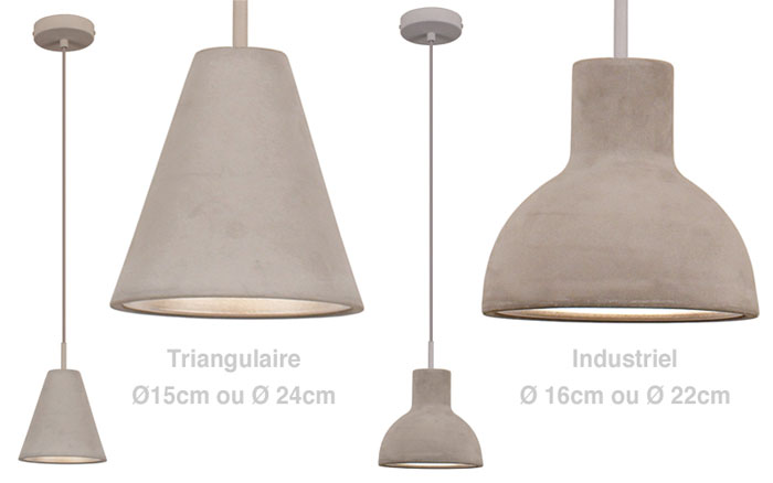 Suspension design en b ton une lampe design brute de for Suspension luminaire bar